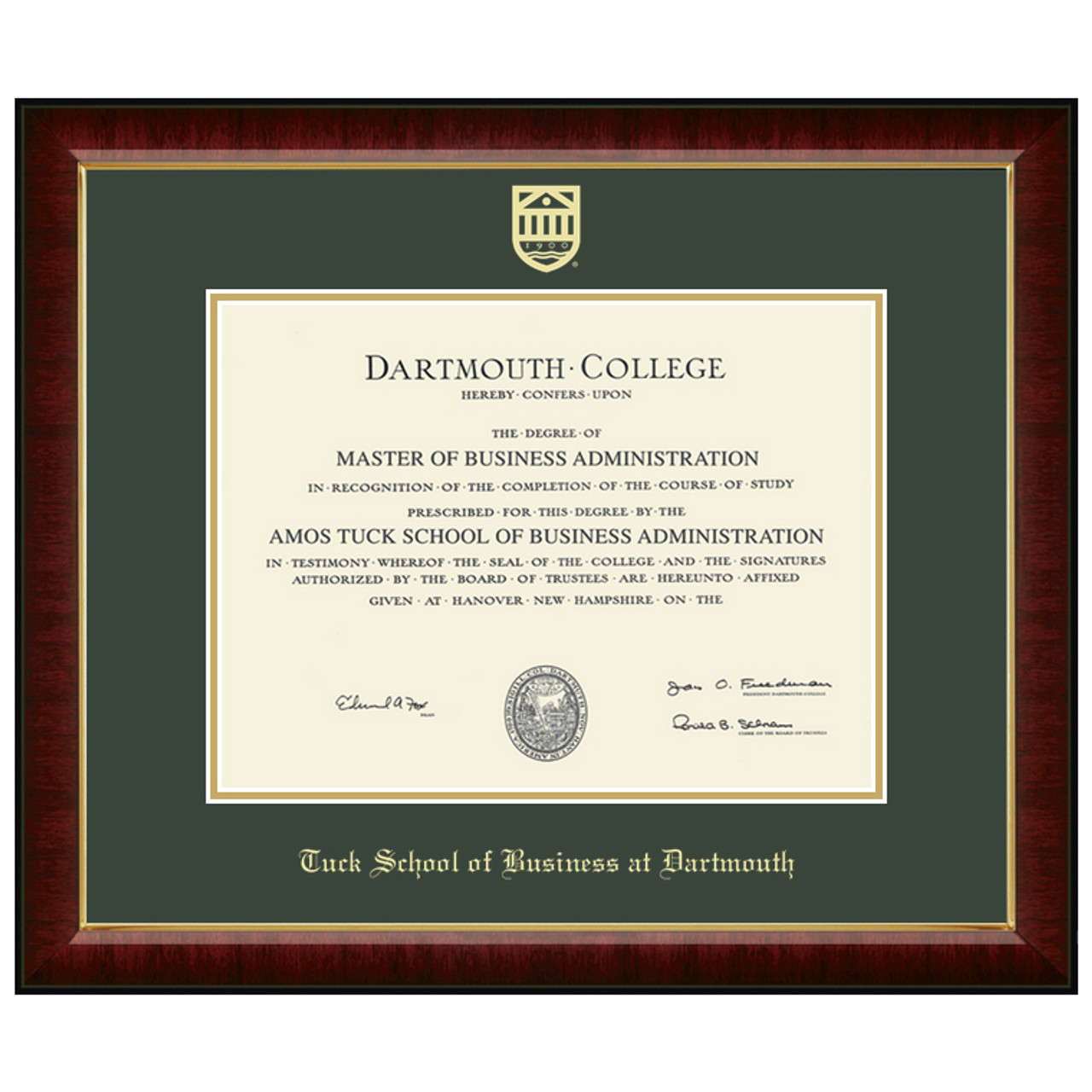 Murano Diploma Frame - Tuck School of Business at Dartmouth