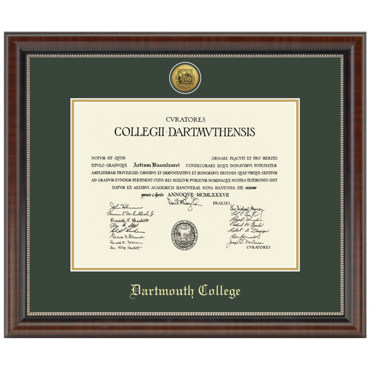 Dartmouth College Gold Engraved Medallion Diploma Frame Chateau Moulding