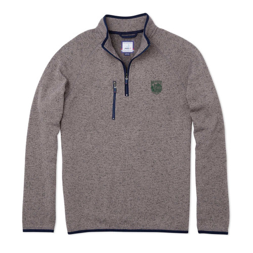 Men's grey 1/4 zip with zipper pocket on right side and Dartmouth shield on left side in green