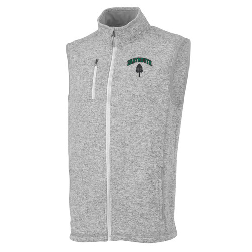 Men's grey vest with 'Dartmouth' and lone pine of left side and zipper on right side