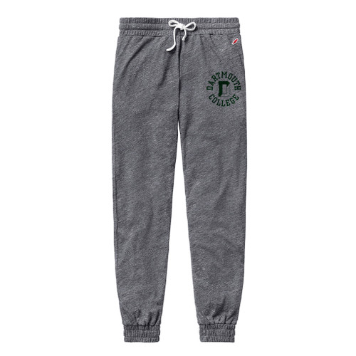 Women's grey sweatpants with 'Dartmouth D College' on left leg