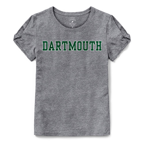 Women's grey short sleeve tee with 'Dartmouth' across chest n green and white