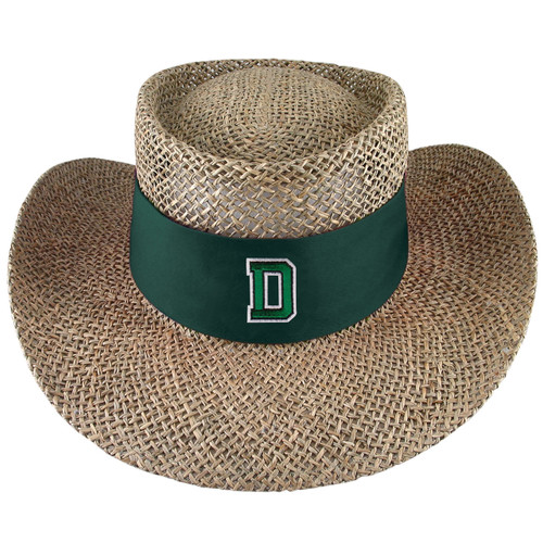 Straw sun hat with green band around the base with green 'D' outlined in white.