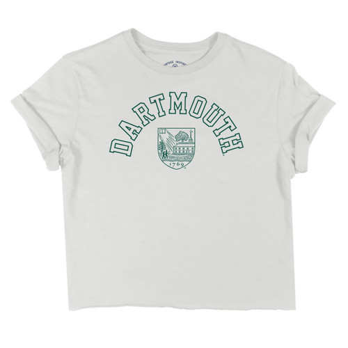 White women's crop tee with cuffed sleeves,  arched green 'Dartmouth' and Dartmouth shield logo.