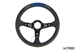 Vertex 10 Star 330mm Steering Wheel Black Leather w/ Blue Stitch