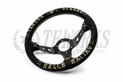 "Vertex ""Hells Racing"" Steering Wheel - Gold & Silver on Black Suede"