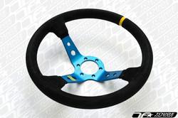 OMP Corsica 350mm Steering Wheel - Black Suede Deep Blue Spoke