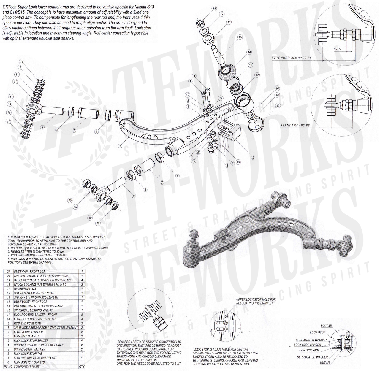 GKtech Super Lock Front Lower Control Arms - S13 / S14 / S15 / R32