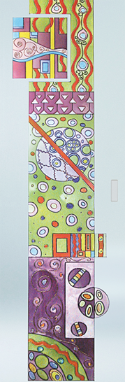 Syntesis® Flush Glass Pocket Door System Handpainted GARDEN