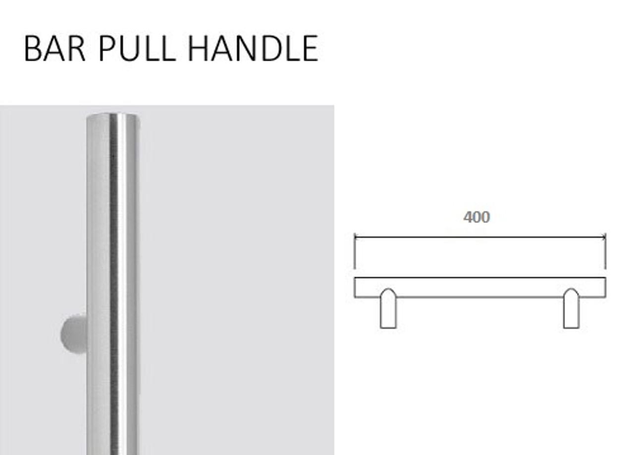 Glass Door Handle   400mm Stainless Steel Bar Handle (02 400CH)