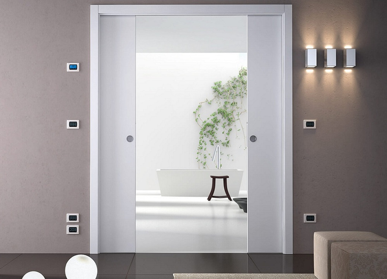 Eclisse double wiring ready sliding pocket door system for Sliding pocket doors