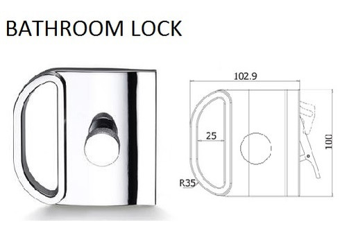 Glass Door Bathroom Lock with incorporated handle (V-604)