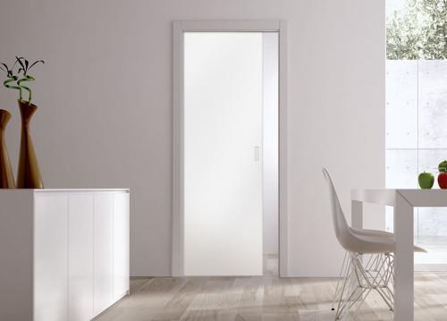 Classic Glass Pocket Door System with 10mm Plain Satin Glass Door