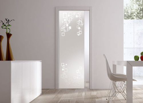 Classic 10mm Glass Pocket Door System Patterned RIFLESSI