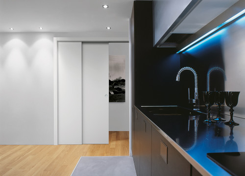 An Eclisse single telescopic pocket door systems allow two doors to disappear into the same pocket providing a wider passage width