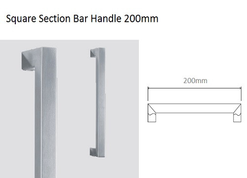 Glass Door Handle - Square Section Bar Handle 200mm (Square 41 200)