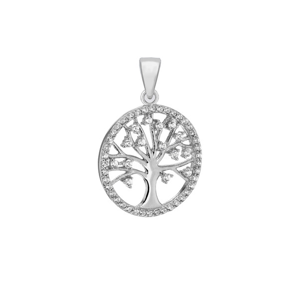 Silver rhodium plated cz tree of life pendant sterling silver rhodium plated cz tree of life pendant mozeypictures Gallery