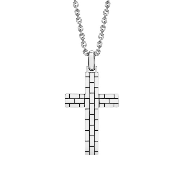 Hoxton sterling silver brick pattern cross pendant chain necklace hoxton mens brick pattern sterling silver cross necklace aloadofball Gallery