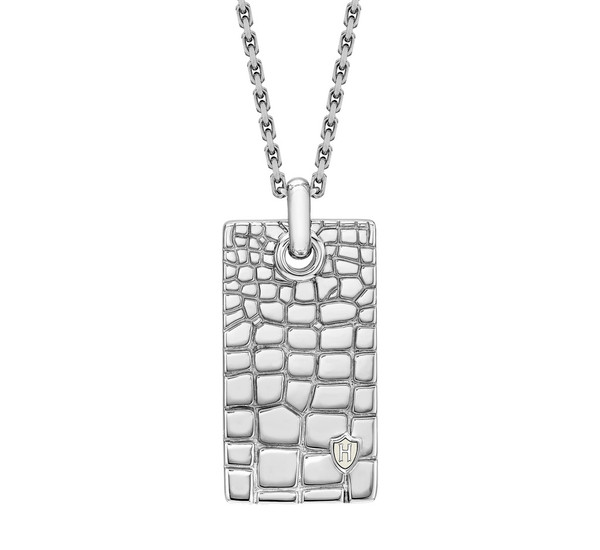 Hoxton sterling silver wild crocodile dog tag pendant chain necklace hoxton mens sterling silver wild crocodile dog tag necklace aloadofball Images