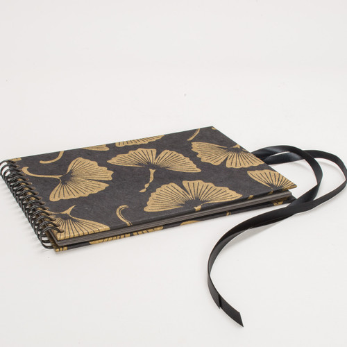 Flip Photo Album in Black and Gold Ginkgo Leaf