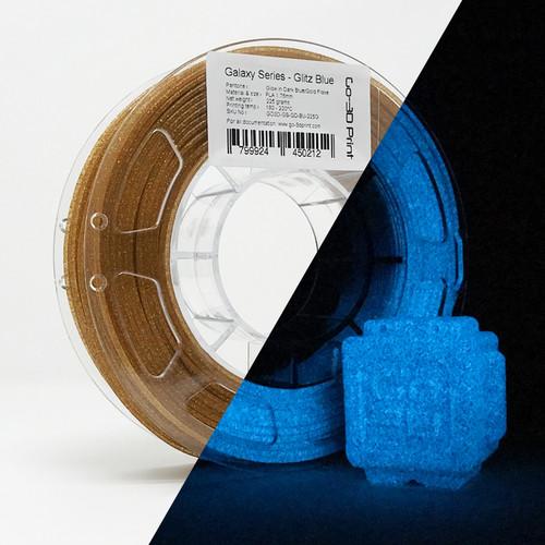 Glitz Blue Gold Flake Glow in the Dark 3D Printing PLA Filament 225g