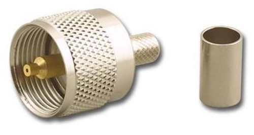 Crimp-On PL-259 UHF-Male Coaxial Connector for RG-8 - UHF-7606-RG8