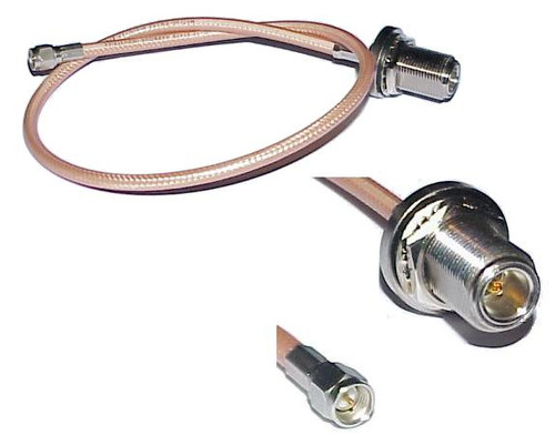 18-Inch - SMA-Male to N-Female RG-142 Coaxial Cable Pigtail SKU: 03366