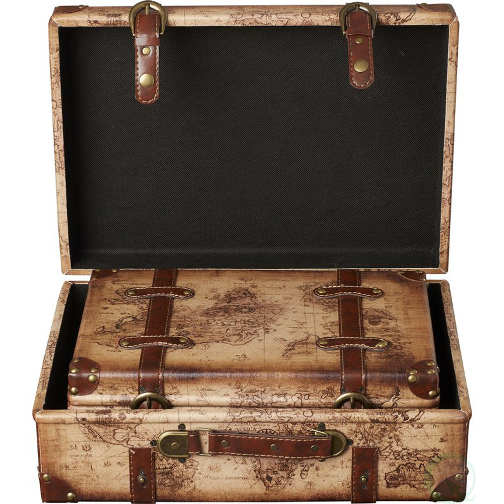 Old world map leather vintage style suitcase with straps set of 2 old world map leather vintage style suitcase with straps gumiabroncs Gallery