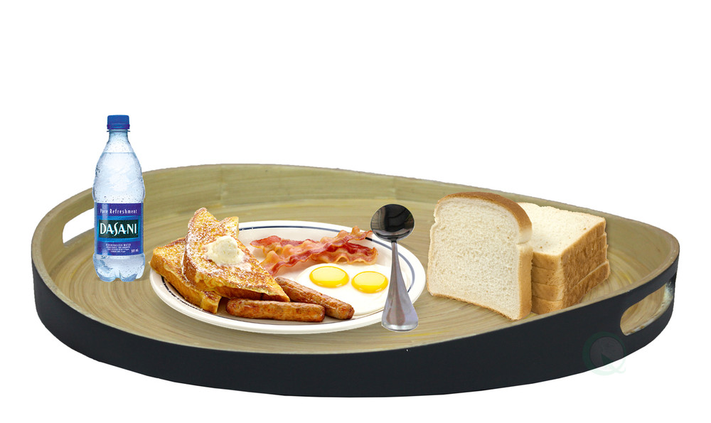 Large Round Bamboo Serving Tray-16 in. Dia Breakfast Tray