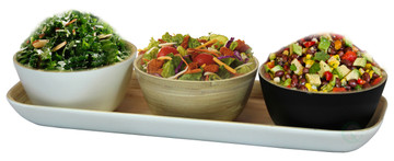White Bamboo Tray with Three Tricolor Bowls, in Natural, Black, and White