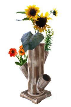 Tree Stump Style Garden Tower Vertical Flower Planter with 4 Planting Slots