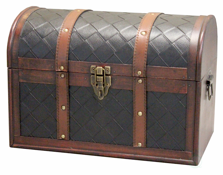 Wooden Leather Treasure Chest