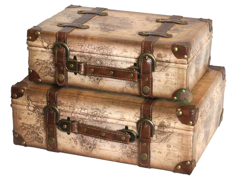 Shop wholesale antique suitcases vintiquewise at quickway imports old world map leather vintage style suitcase with straps set of 2 gumiabroncs Gallery