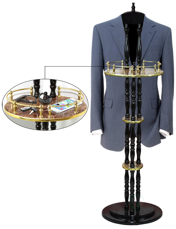 """Extra Tall Espresso Wooden Valet Stand, 54"""" Tall"""