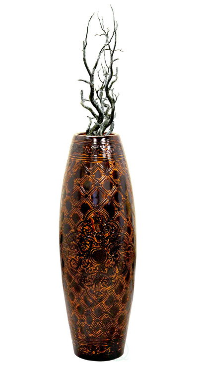 """Antique Style Brown Floor Vase, 36"""" Tall"""