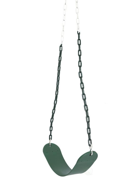 Heavy Duty Flexible Green Belt Swing with Coated Metal Chain