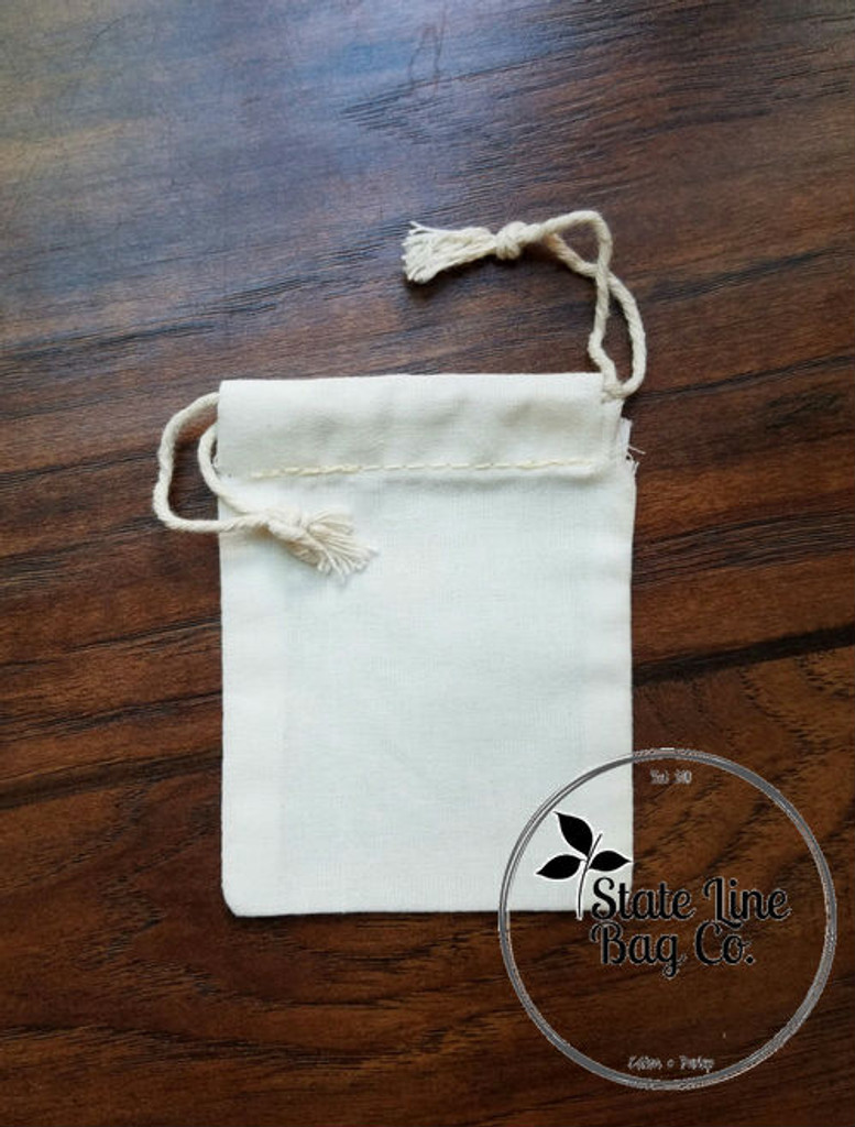 "2.75"" x 4"" Premium Double - Drawstring Cotton Muslin Bag"