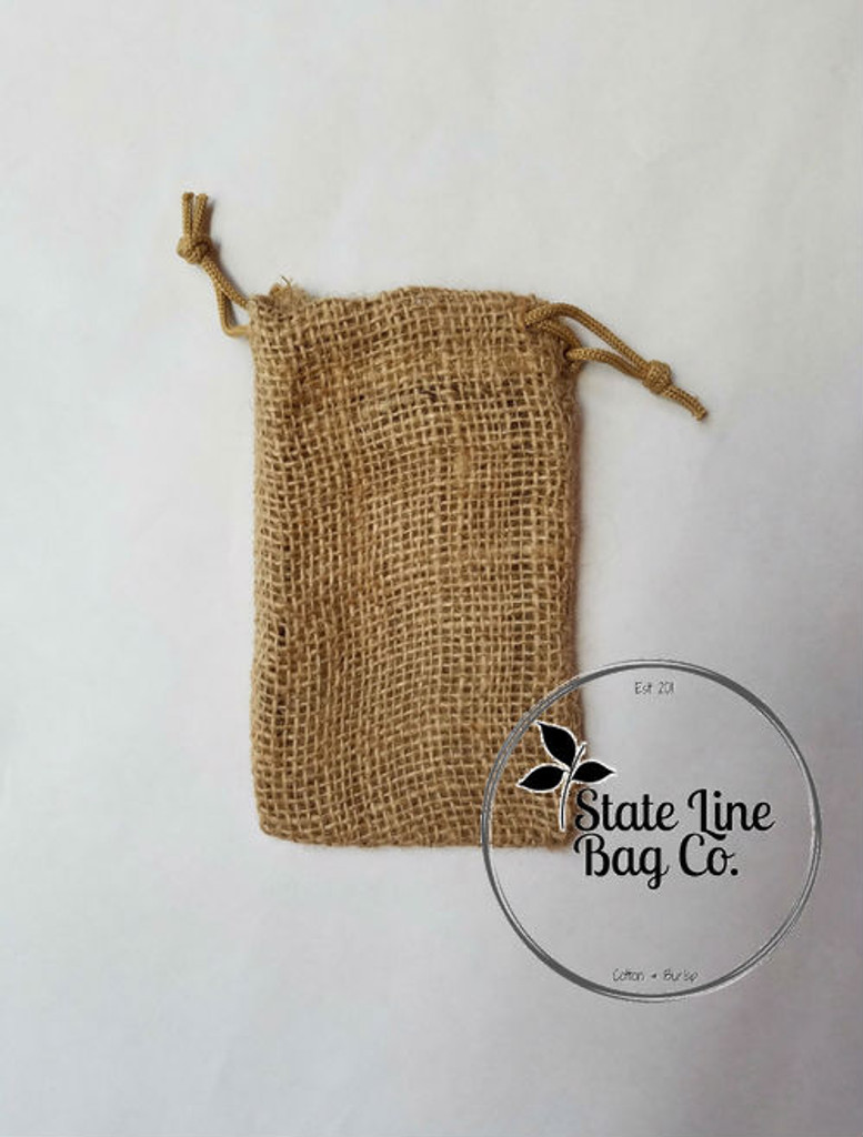 "4"" x 6"" Burlap Bag Double - Drawstring"