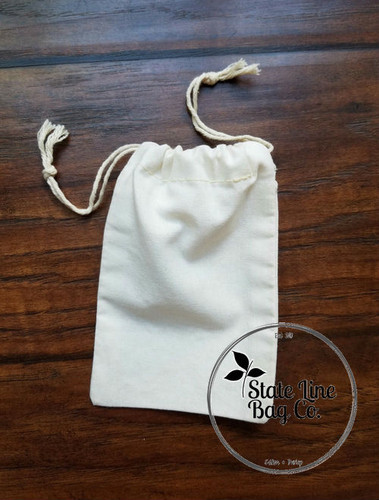 "4"" x 6"" Premium Double - Drawstring Cotton Muslin Bag"