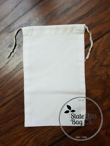 "6"" x 10"" Premium Double - Drawstring Cotton Muslin Bag"
