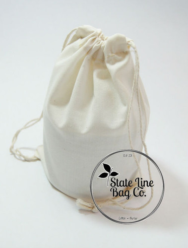 "Premium Double - Drawstring Cotton Muslin Bags 6"" x 10"""