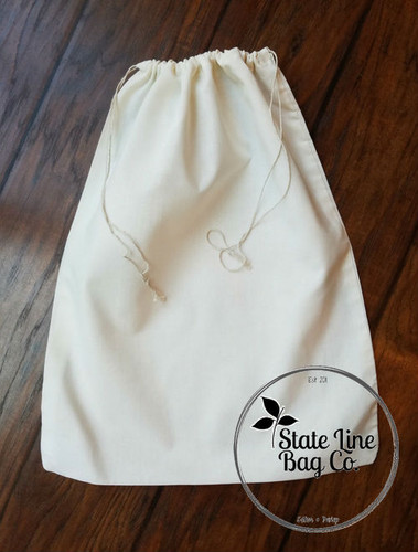 "12"" x 20"" Premium Double - Drawstring Cotton Muslin Bag"