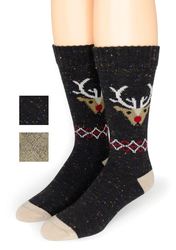 Reindeer Holiday Alpaca Wool Socks  - *NEW*