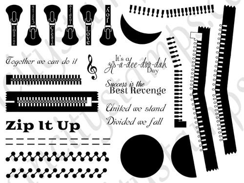 Zip it Up! Patterns Borders & Backgrounds Art Rubber Stamp Sheet Set SC86