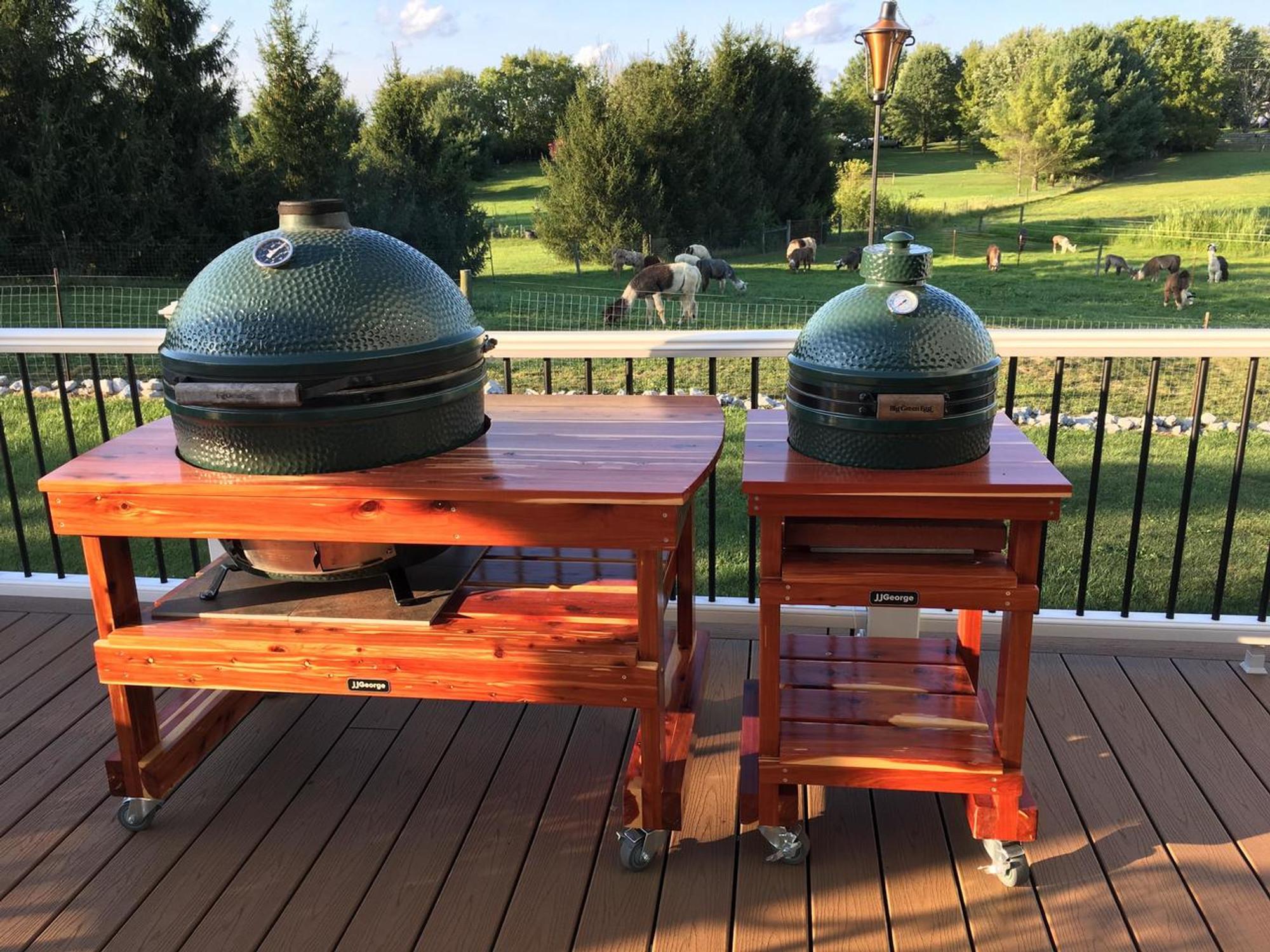 Extra Large Big Green Egg Table | XL Big Green Egg Table | JJGeorge