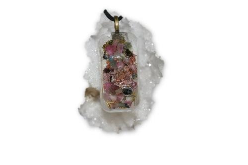 Divine sparks orgone energy pendant tibetan quartz crystal pink divine sparks orgone energy pendant tibetan quartz crystal pink and green tourmaline crystal aloadofball Gallery