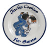"""Personalized 9"""" Rimmed Plate with Boy Leaving Cookies for Santa"""