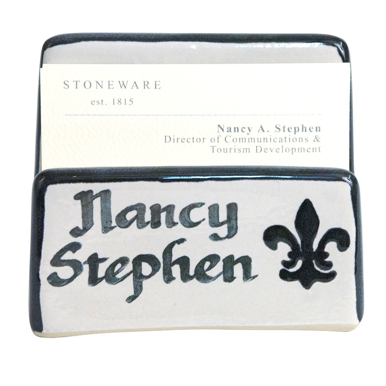 Personalized Fleur de Lis Business Card Holder - Stoneware & Co.