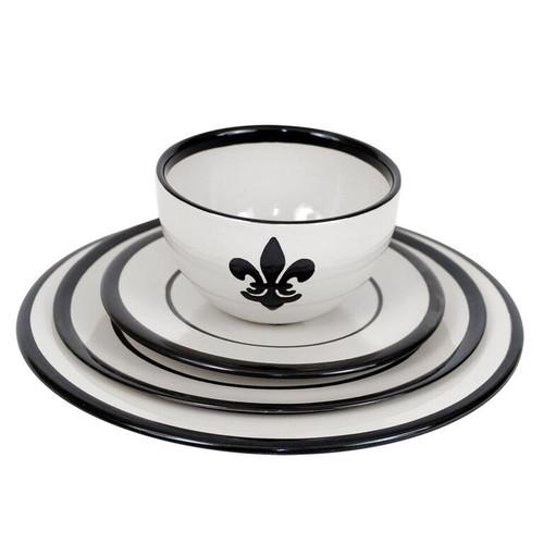 Fleur de Lis Dinnerware Set in Black · Fleur de Lis Place Setting in Black  sc 1 st  Louisville Stoneware & Black Fleur de Lis Place Setting | Fleur de Lis Dinnerware Set ...