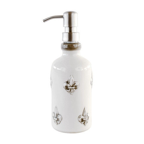 Tall Liquid Soap/Lotion Dispenser Embossed in Special Gray Fluer de Lis
